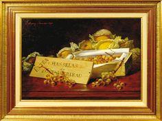Pierre-Jules BROCQ (1811-?) Chasselas de Fontainebleau Huile sur toile signée en haut à gauche et datée 1890  Estimation 150/200€