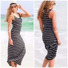 CLEARANCE  Striped Maxi Dress in Black & White Who doesn't love a classic maxi dress? People will definitely be looking your way while you're wearing this black and white stripe maxi dress! It's sure to show off your curves with its body con fit! The dress is long and features a racerback. It looks great with flat sandals. Jazz it up with a fedora for added style!  95% poly & 5% spandex. Available in size small, medium or large. (Also have in gray/white) •A433•   Brand New  ❎ No Trades  10%…