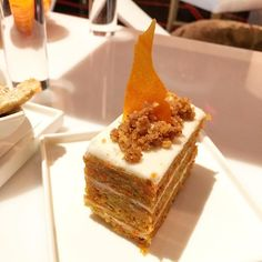 From last nights stage: Vegan Carrot Cake with Vegan Icing Walnut Crumble Carrot Tuile. #chef #cheflife #chefsroll #chefstalk #chefswhotravel #chefsofinstagram #travel #traveling #truecooks #pastry #pastrychef #pastrylife #patisserie #vegas #vegan #cake #wynn #LasVegas #lasvegaschefs #lasvegasdining #lasvegaspastry #patisserie by seattlebaker