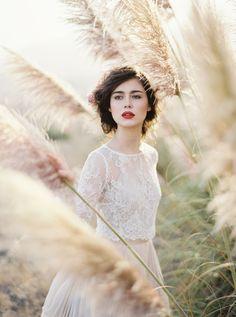 Portrait Photography Inspiration : this modern romancefine art film weddingred lipsblush wedding dresstaupe wed