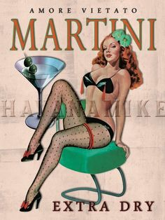 Amore Martini Extra Dry Vintage Style BAR Art Pinup Girl Poster Print - Measures Wide x high Wide x high) Pin Up Vintage, Pub Vintage, Vintage Style, Retro Pin Up, Pinup Art, Pin Up Posters, Girl Posters, Pin Up Girls, Dibujos Pin Up