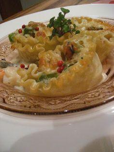 Marie est dans son assiette!: Lasagnes aux fruits de mer en rosettes
