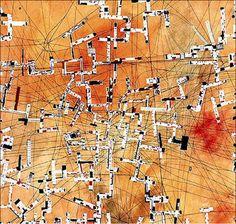 """Nueva Babilonia. Amsterdam, Países Bajos. 1959 (Constant).Cartografia """"New Babylon""""manifiesto situacionista. Homoludens en l'espacio, referente propio."""