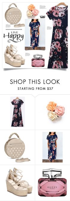 """""""Floral Dress by YOINS"""" by mahafromkailash ❤ liked on Polyvore featuring Gucci and WALL"""