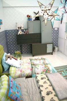modern eclectic kids room - love all the mixed patterns. Girl Room, Girls Bedroom, Bedroom Decor, Master Bedroom, Kid Spaces, Kids Decor, Custom Furniture, Cupboards, Cabinets