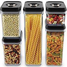 Food Storage Container Set - 5-Piece Set - Durable Plastic BPA Free Clear Plastic Black Lids