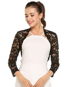 Product review for Zeagoo Women's 3 4 Sleeve Bolero Shrugs Crochet Lace Open Cardigan.  Material: lace Closure Type: Pullover Style: Casual Season: Spring, Autumn Collar: Open Stitch Sleeve: 3/4 Sleeve Pattern: Floral Fit Style: Slim SIZE MEASUREMENT S—–shoulder: 15.3''—sleeve: 18.5''—chest: 35.8''—middle back length:...