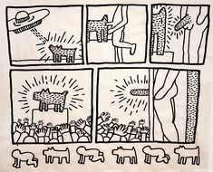 <b>Keith Haring</b> <i>Untitled (Glowing Dog)</i>, January 16, 1981 ink on vellum 41.5 x 50.5 inches (105.4 x 128.3 cm.)