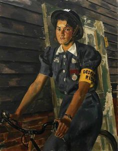 Miss Charity Bick, GM, of West Bromwich, the Youngest Woman Civil Defence Worker to be Decorated with the George Medal, 1941 by Alfred Reginald Thomson (British 1894–1979)