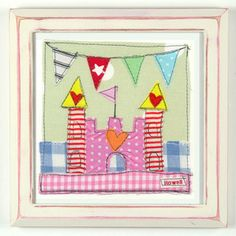 £17.50 Gorgeous Gingham Castle Nursery Art Picture in White/Pink Frame #girls #nursery decor