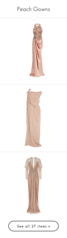"""""""Peach Gowns"""" by abbey-jp ❤ liked on Polyvore featuring dresses, gowns, marchesa, halter gown, white gown, beaded gown, white dress, white beaded dress, long dresses and evening gowns"""