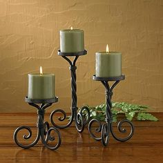 The Scroll Pillar Candle Holder set has a time honored design that looks great in a cabin, lodge, or home.