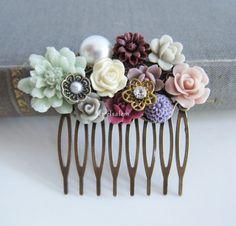 Chintz Wedding Comb Romantic Bridal Hair Accessories by Jewelsalem