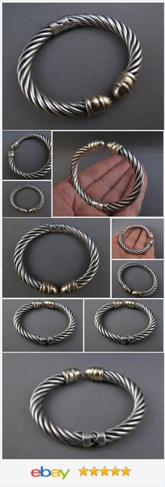 Signed Milor Italy Twisted Rope Spring Hinged Cuff Sterling Silver 925 Bracelet