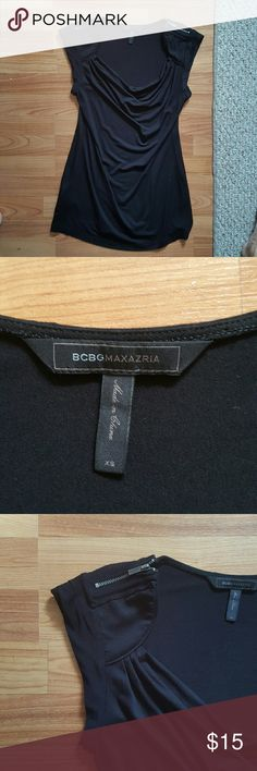 BCBG Maxazria Top size XS BCBG Maxazria top in black size XS. Fits more like size small.  Zipper sleaves. Worn once, purchase from BCBG store. 100% authentic. BCBGMaxAzria Tops Blouses