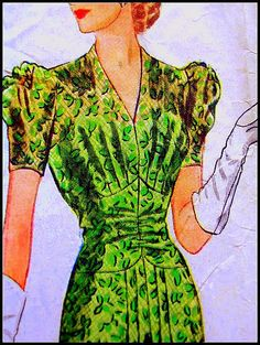 A charming McCall 1940s sewing pattern for a dress.  #green