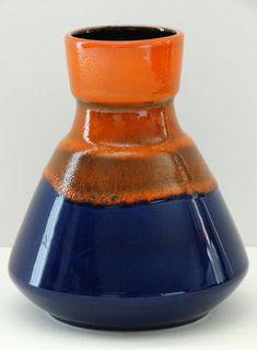 Dümler & Breiden Mid Century Navy Blue and Orange West German Vase