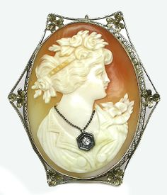 Victorian 14k White Gold Cameo Pin | New York Estate Jewelry | Israel Rose