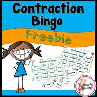 Teacher's Take-Out: Contractions Bingo Game Freebie! Spelling Activities, Literacy Games, Literacy Centers, Art Centers, Word Study, Word Work, Reading Resources, Classroom Resources, Reading Activities
