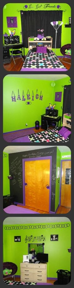 Haleigh's bedroom we just re-decorated for her 12th Birthday! Really captured her love for music and her instrument! The colors turned out great together and really go well with the chalkboard wall! :)
