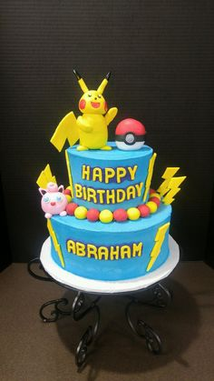 Pokemon Birthday Cake With Pikachu Daddy Cakes Bakery Fort Collins CO