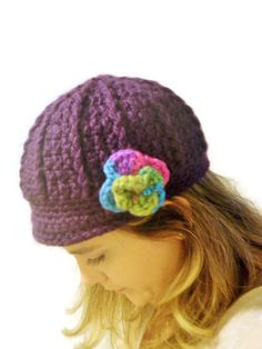 62195264fba deep purple crochet newsboy cap with flower by CrochetByMel Crochet Newsboy  Hat