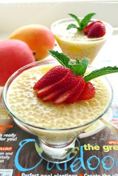 A delightful dessert to welcome the first day of summer ~ (Makes 6 g. Sago Pudding Recipe, Mango Pudding, Tapioca Pudding, Custard Pudding, Pudding Recipes, Sago Recipes, Milk Recipes, Dessert Recipes, Decadent Chocolate Cake