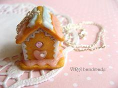 Kawaii cute lolita gingerbread house necklace by VIRAhandmade