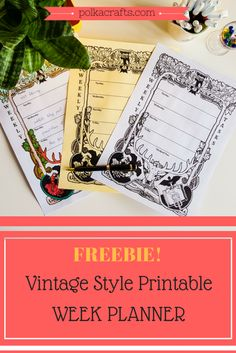 Download and enjoy Free Printable Vintage Weekly Planner. Print friendly PDF file. Stay organized in a creative way!