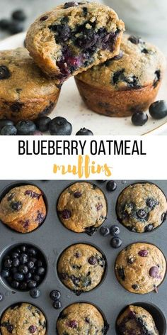 These Healthy Blueberry Oatmeal Muffins are perfect for on the go! Loaded with whole grains, fiber, protein and juicy berries! #muffin #baking #blueberry #recipe #breakfast healthy muffins | healthy recipes | breakfast recipes | school lunch | blueberries