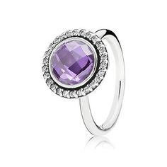 Pandora Silver Ring with Clear & Purple Cubic Zirconia, Choose Size