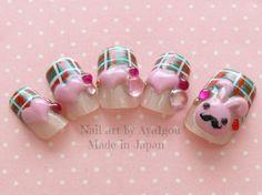 Holiday nail Christmas nails bunny nail kawaii nail by Aya1gou