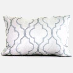 Kravet Spa Blue Embroidered Trellis on Linen Lumbar Pillow Cover 14x20, 18x18, 20x20. $55.00, via Etsy.