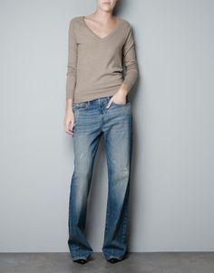 BASIC V-NECK SWEATER - Knitwear - Woman - ZARA United States