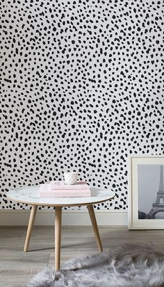 Go wild with this dalmatian print wallpaper mural. The simplicity of this pattern adds an understated yet luxury feel to your living room spaces. Pair with pink and copper hues for a girly but refined B&w Wallpaper, Spotted Wallpaper, Trendy Wallpaper, Statement Wall, Living Room Interior, Living Rooms, Black Sofa Living Room, My New Room, Wall Murals