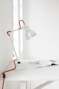 White Lampe GRAS N°205 with red wire