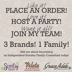 If you are wanting to earn Free and Half Price Scentsy, Velata or Grace Adele or looking for a second income, I'd be honored to have you join our team or help you host a party! #Scentsy #Party