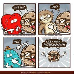 Razão vs Emoção Heart And Brain Comic, Awkward Yeti, Little Memes, Little Bit, Haha, Funny Memes, Mindfulness, Animation, Cartoon