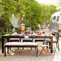 Wood-Slat Dining Table, Chocolate