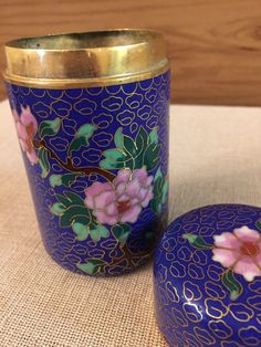 Chinese Cloisanne Box  Tea Container  Tobacco by PineStreetPickers