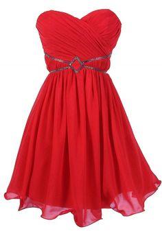 Festive Red Embellished Chiffon Designer Dress