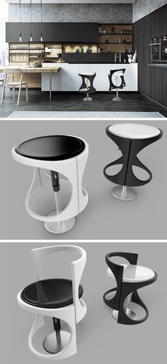The Infinity stool has infinite number of variations in height to adapt to the seated person's unique anatomy.