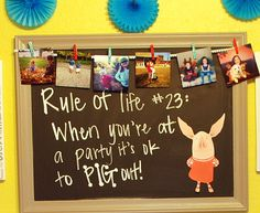 Mini chalkboards with rule of life theme and put funny lessons learned during first year