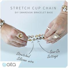 How to make stretch cup chain Swarovski crystal bracelet. Learn more with tutorial from Gita-Jewelry https://www.gita-jewelry.com/en/school/a/tutorial/?ContentID=953