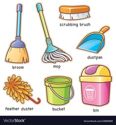Find Vector illustration of Cartoon Cleaning supplier vocabulary stock vectors and royalty free photos in HD. Explore millions of stock photos, images, illustrations, and vectors in the Shutterstock creative collection. Learning English For Kids, English Lessons For Kids, Kids English, English Language Learning, English Study, Teaching English, English Vocabulary Words, Learn English Words, English Phrases