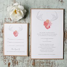 Antler Wedding Invitation: These antler wedding invitations are rather unique. Source: Wedding Chicks