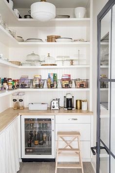 Kate Marker Interiors - Emily Kennedy Styling & Photography - Walk in kitchen pantry featuring skirted shelves, white cabinets and butcher block counters. Kitchen Pantry Design, Kitchen Pantry Cabinets, Rustic Kitchen, Prep Kitchen, Kitchen Reno, Kitchen Storage, Kitchen Ideas, Pantry Closet, Walk In Pantry