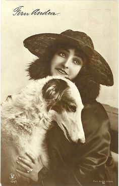 Fern Andra,silent movie star,and one of her borzoîs.