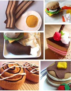 idea, foods, food toy, art, play kitchen, felt craft, fun, felt food, kid