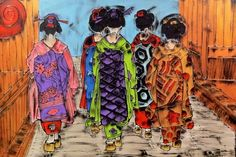 LORO SE NE VANNO - 150x100 cm. Acrilc on canvas - 2015 - #GEISHA